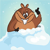 Vector funny groundhog. Cartoon a cute groundhog peeking out of its hole smiling and waving. Vector isolated