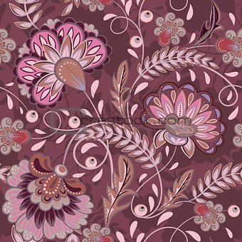Floral pattern Flourish tiled oriental ethnic background. Purple arabic ornament with fantastic flowers and leaves. Wonderland motives of the paintings of ancient Indian fabric patterns