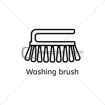 Cleaning brush simple line icon. Washing brush thin linear signs. Toilet cleaning simple concept for websites, infographic, mobile applications.