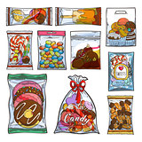 Sweets, candy and cakes in plastic bags and packages.