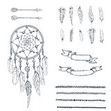 Set of hand drawn ornate Dreamcatcher, feathers, arrows, ribbons and canvas in contour. Ethnic tribal element. Vector illustration