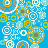 Blue background with circles. Retro vintage pop style. Vector illustration