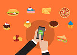 order online food using smarpthone with hand holding and tap order food