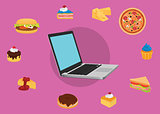 order online food user laptop computer with various food
