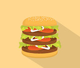 big hamburger with bun and tall patty and long shadow as background
