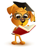 Yellow dog teacher reading book