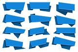 Blue origami ribbons set