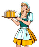 Beautiful young woman waiter holding tray with beer. Oktoberfest German beer festival