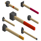 Set of different hammers in 3D, vector illustration.