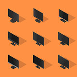Set of flat monitors in 3D, vector illustration.