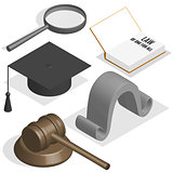 Judge set in 3D, vector illustration.
