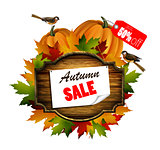 autumn sale wooden signboard