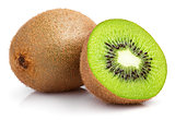 whole kiwi fruit and half kiwi fruit on white