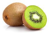whole kiwi fruit and half kiwi fruit on white