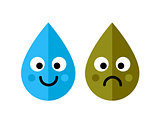 Clean and dirty water drops characters icon isolated on white background. Ecology concept.