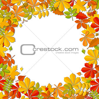 Autumn falling leaf frame isolated on white background.