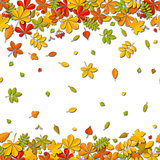Seamless border Autumn falling leaf background isolated on white.