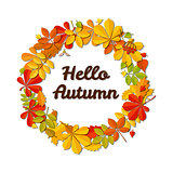 Autumn falling leaf wreath and text Hello Autumn isolated on white background.