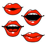 Woman lips emotions - open, closed and kissing lips