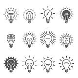 Light bulb icons - idea, innovation and inspiration symbols