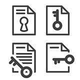 Locked file simple icon with key - secured document