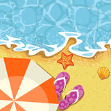 Seaside summer vacation - parasol, send and wave