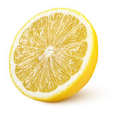half of yellow lemon citrus fruit isolated on white