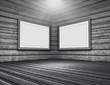 3D grunge wooden room interior with blank picture frames