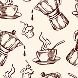 Vintage vector coffee seamless pattern
