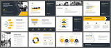 Yellow presentation templates and infographics elements backgrou