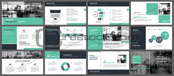 Green presentation templates and infographics elements backgroun