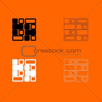 Tile  black and white set icon .