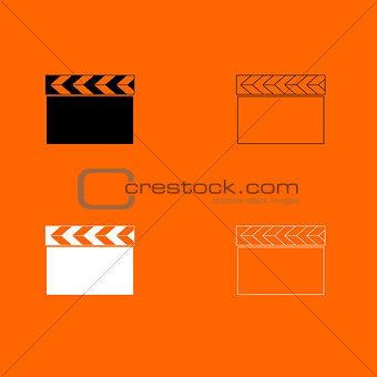 Cinema clapper  black and white set icon .