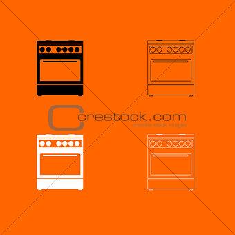 Kitchen stove  black and white set icon .