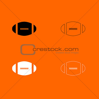 American football ball  black and white set icon .