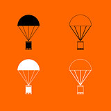 Parachute with cargo  black and white set icon .