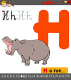 letter h with cartoon hippopotamus