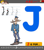 letter j with cartoon janitor character