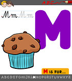 letter m with cartoon muffin sweet cake