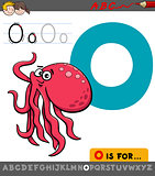 letter o with cartoon octopus animal