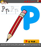 letter p with cartoon pencil object