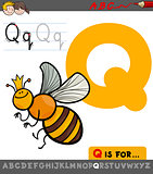 letter q with cartoon quenn bee character