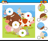 match pieces activity with farm animals
