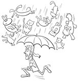 raining cats and dogs cartoon illustration