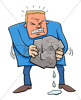 saying squeezing water from stone humor cartoon