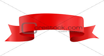 Abstract Red Ribbon Template on White Background. Vector Illustration