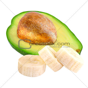 Avocado and sliced banana isolated on white