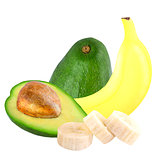 Banana and avocado isolated on white background