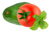 Isolated tomato with basil leaves and avocado