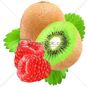 Kiwi and raspberries isolated on white